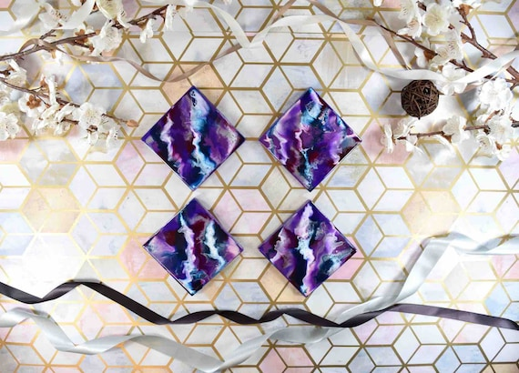 Purple Drinks Coasters - Resin Art Placemats - Violet Home Decor