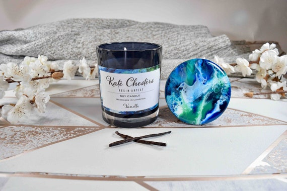 Vanilla Candle Natural Soy Wax with Optional Resin Art Lid 30cl