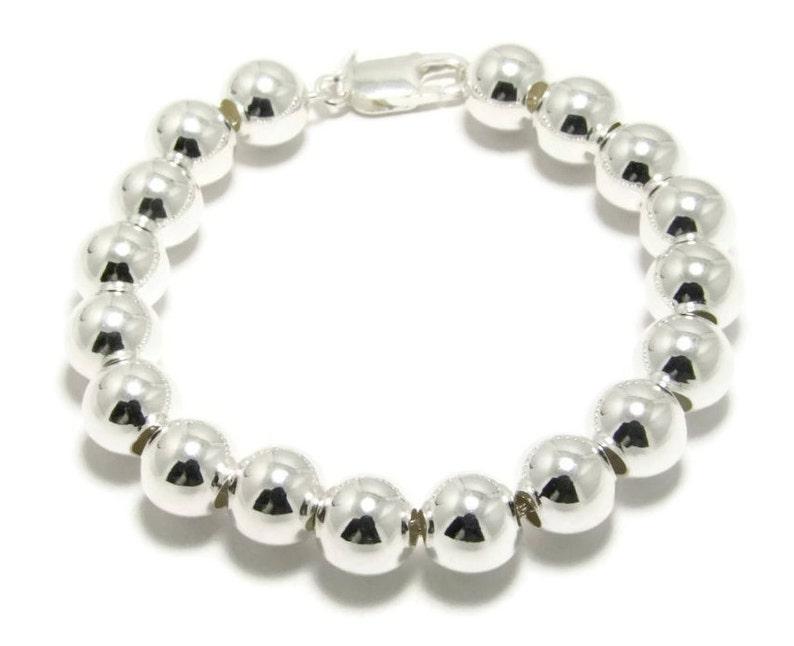 ed8e7a725 10mm Silver Ball Bracelet 925 Sterling silver ball bead   Etsy