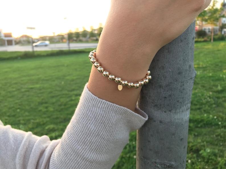 14kt Gold Filled Ball Bead Bracelet on Stretch Band 7mm Gold filled ball  bead bracelet on Elastic 7mm Ball Bead Bracelet Gold-Filled Beads