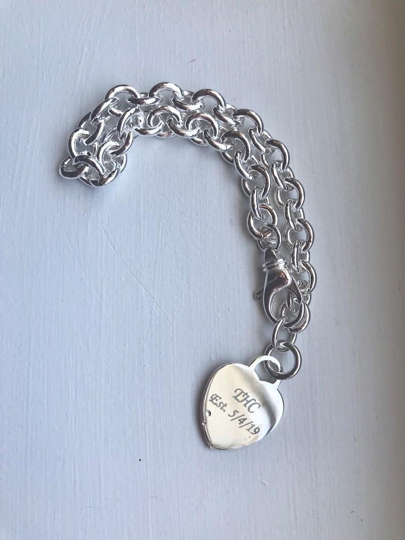 Sterling silver custom bracelet Engravable silver heart charm bracelet personal charm bracelet personalized silver charm bracelet