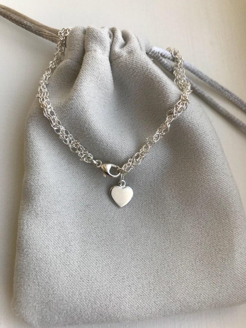 Womens 925 Sterling Silver bracelet Minimalist bracelet Flat heart charm bracelet for girls multistrand dainty silver bracelet for women