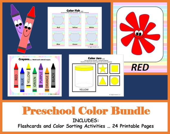 Preschool Color Bundle - Flashcards, Color Sorting Activities ... 24 Printable Pages ... Instant Download