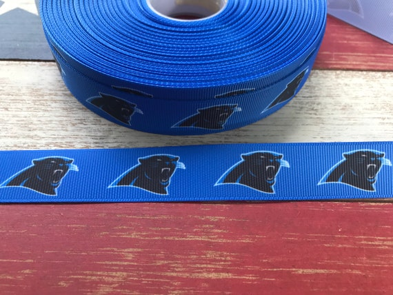 """Carolina Panthers 1.5/"""" wide grosgrain ribbon the listing is for 5 yards"""