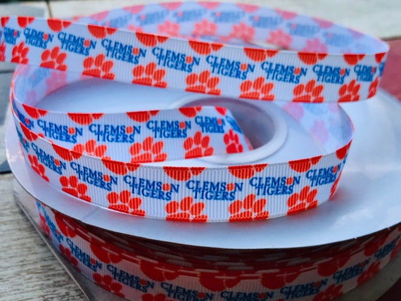 CLEMSON TIGERS INSPIRED ORANGE PAWS GROSGRAIN RIBBON BY THE YARD USA SELLER