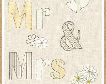 MR & MRS wedding greetings card - Juniper Tree  - blank inside - STL59 - wedding card -