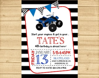 4 Wheeler Invitation Birthday Party Four ATV Quad Boys