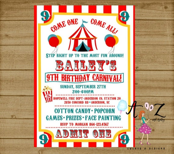 Carnival Birthday Invitation Carnival Party Carnival Ticket