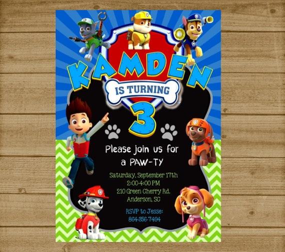 High Quality Paw Patrol Party Invitations Birthday Kids Boys Girls Envelopes
