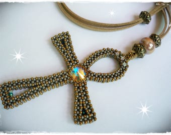Ankh Necklace (Ankh necklace)-Cubic Right Angle Weave (CRAW)