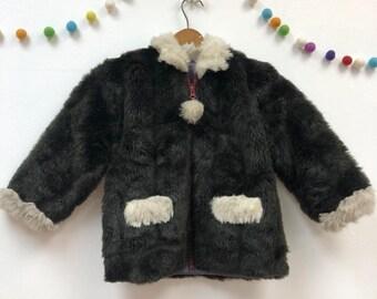 4bf87e66983 Kids 1960s Faux Fur Jacket Vintage Black Fake Fur Fuzzy Coat Children s  Size 6 Years