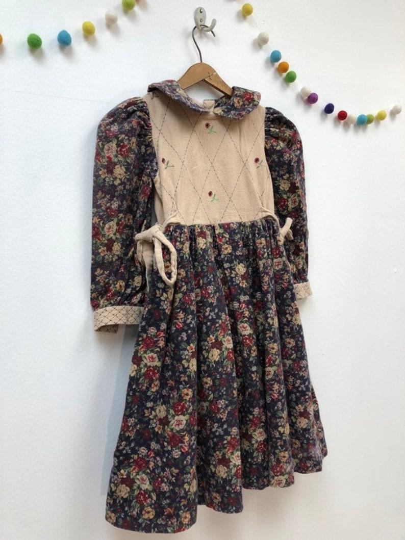 d53f29b9e75dc Kids 1990s Flannel Calico Floral Dress Vintage Girls Pastoral | Etsy