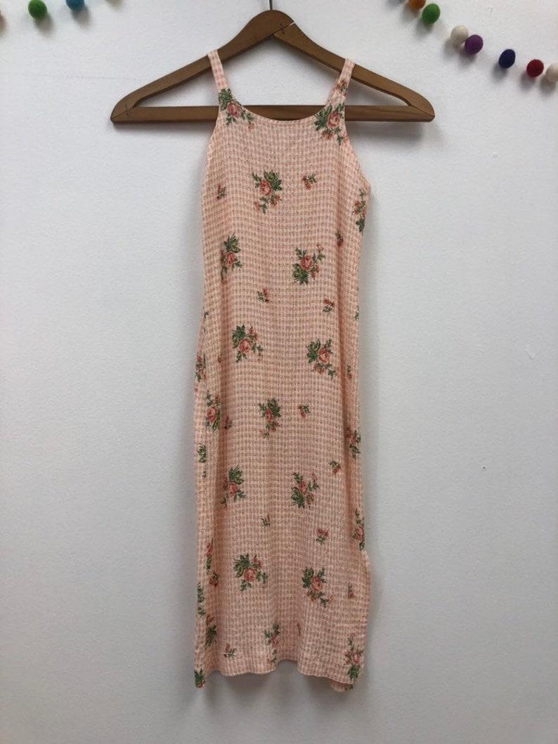 7fd15b158f183 Kids 1990s Floral Slip Dress Vintage Girls Peach Gingham Long | Etsy