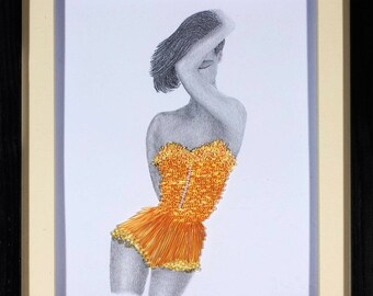 Quilled Artwork - Original Pencil drawing with Quilled Paper Lace details - One only original - 3D Paper Art - Birthday Gift for Her
