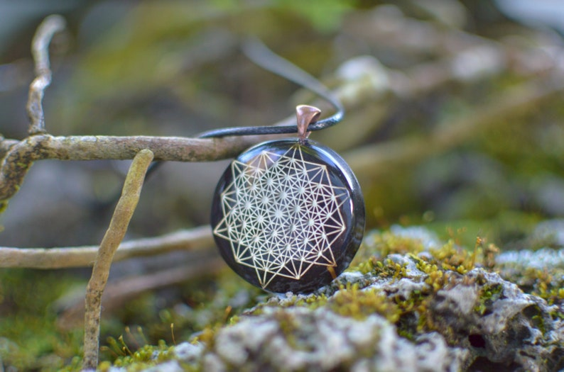 64 tetrahedron orgone amulet pendant with quartz crystal Orgonite\u00ae Pendant Protection from  EMF  RF radiation of cell phone