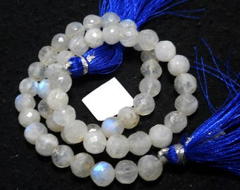 Rainbow Moonstone Faceted Blue Fire Stone Beads 7 mm,12 inches,carat 104 faceted rainbow stone PCD 2186