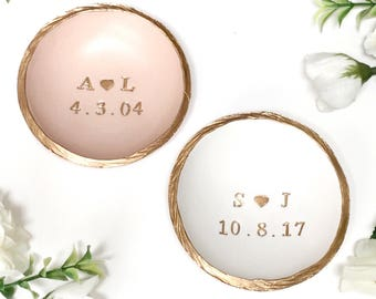 Personalized Ring Dish / Initials and Date / Gifts for Her / Engagement Gift / Wedding Gift / Personalized Jewelry Dish / Personalized Gift