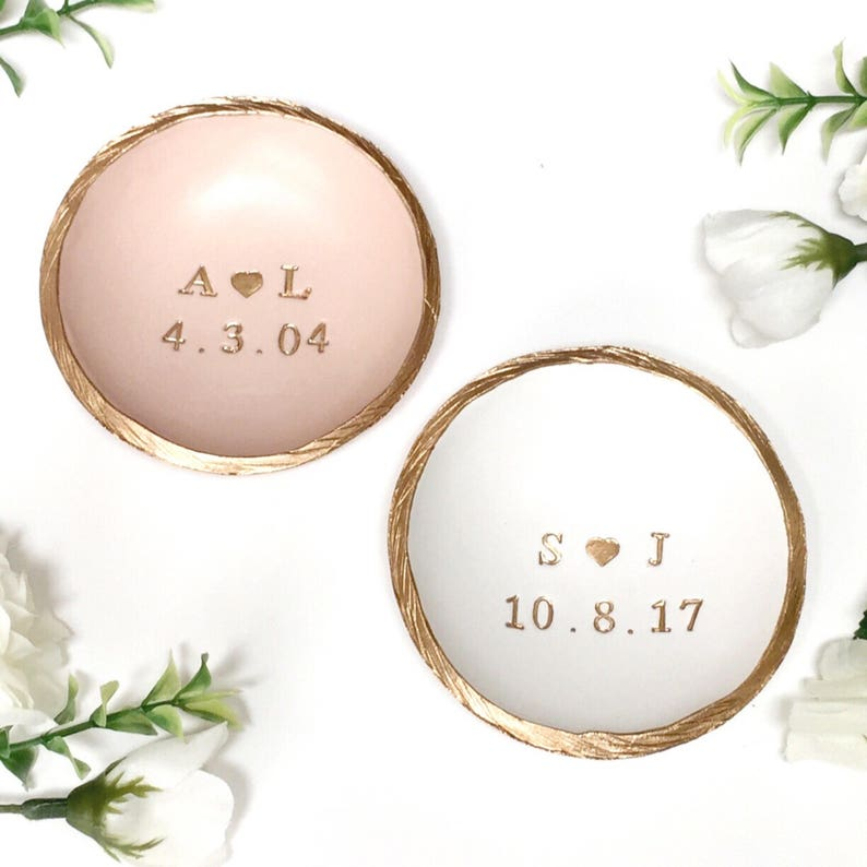 Engagement Gift / Ring Dish / Date and Initials / Jewelry Dish image 0