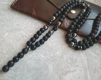 Sale 15% Fathers gift Mens rosary necklace Black beaded necklace Catholic Rosary gemstone onyx jewelry for men