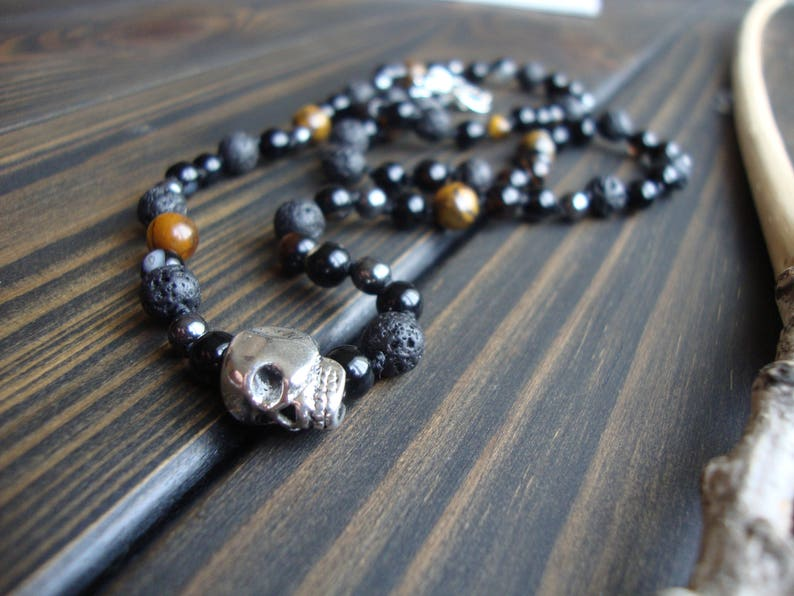 Men/'s choker with natural stones Boyfriend gift Man Beaded necklace