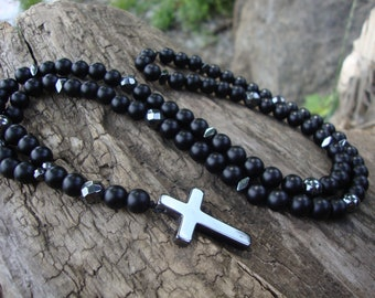 Gift for father Cross necklace men Mens rosary necklace Black beaded necklace onyx rosary Catholic Rosary gemstone Pendant cross hematite