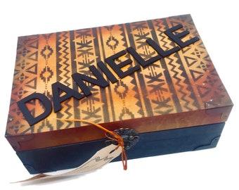 black and blue personalized keepsake box memories box etsy