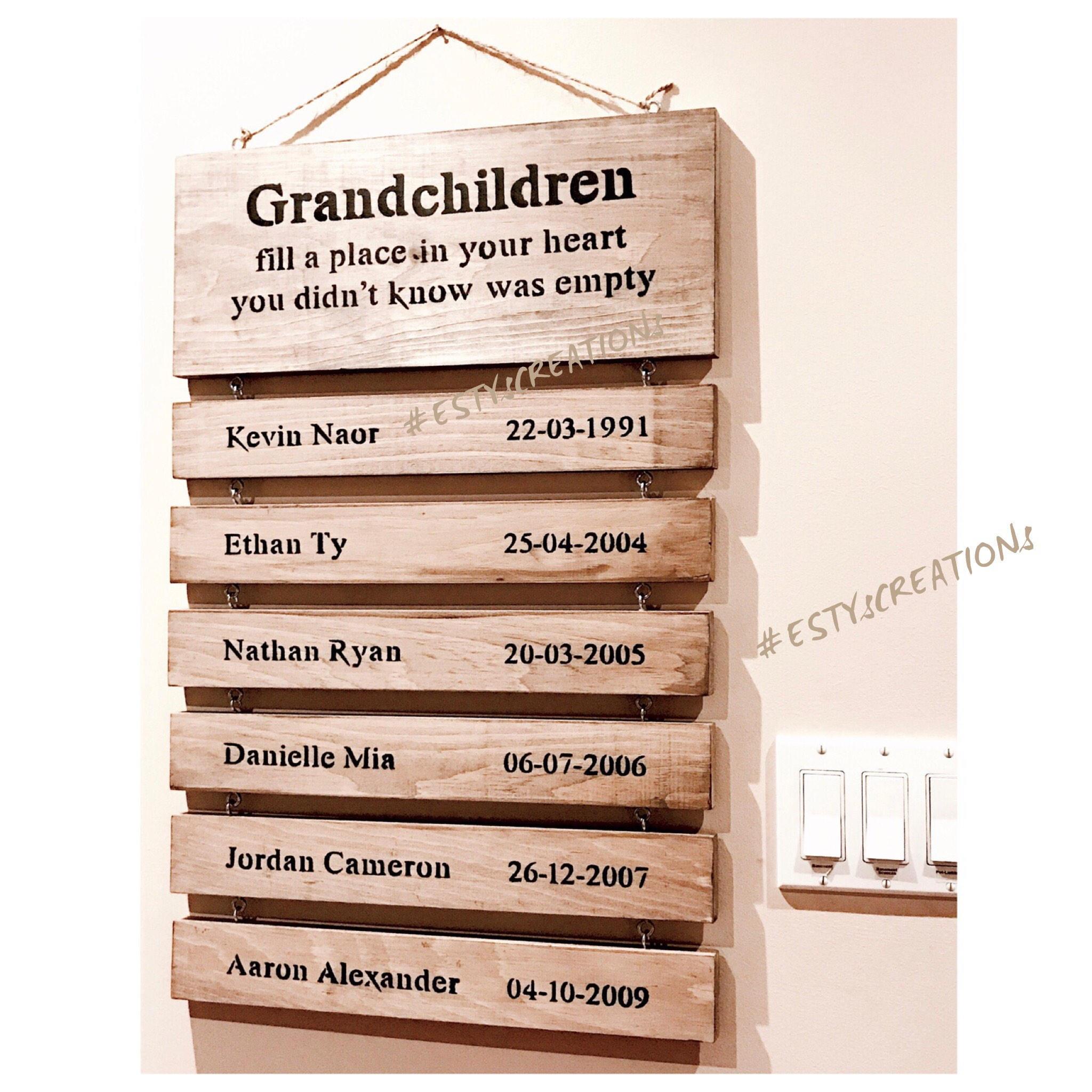 Custom Wooden Grandparents Sign With Grandkids Names Grandchildren Birthdates Personalized Anniversary Gift For The Grandparents