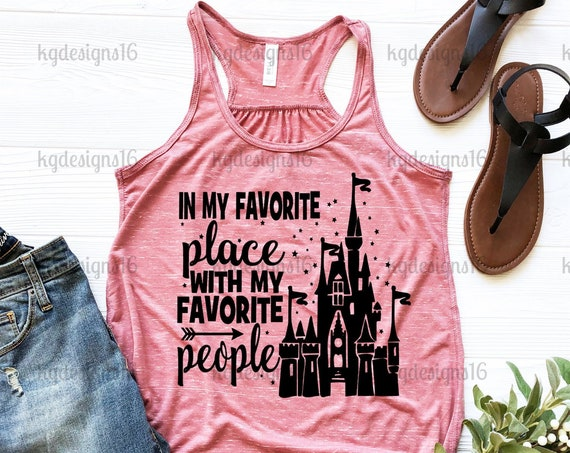 In My Favorite Place With My Favorite People-Best Day Ever Shirt-Minnie Mouse Tank Top-Bella Flowy Tank Top-Glitter-Women's Disney Shirt