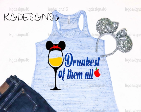 Snow White Tank-Drunkest Of Them All-Epcot Drinking Princess-Drinking Around The World-Top-Vacation Shirt-Flowy Tank Top-Loose Fit
