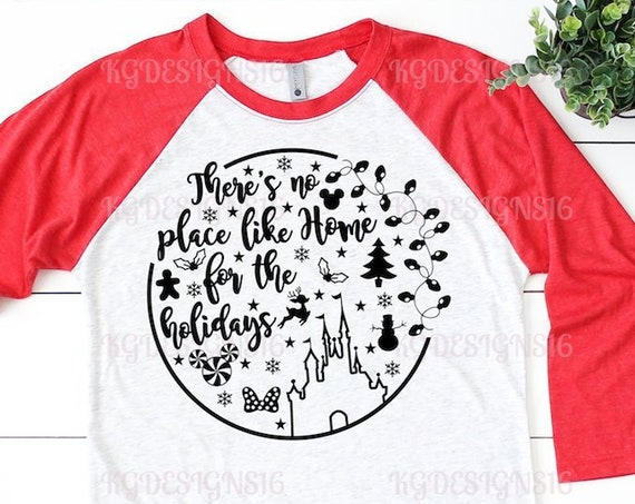 No Place Like Home-Dashing Down Main Street-Holiday Ears-Disney Christmas Womens Shirt-Raglan Tshirt-Unisex Raglan Shirt-Womens Disney Tank