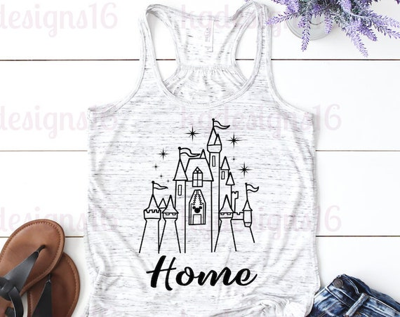 Disney Castle Home Tank Top-Castle Home Shirt-Vacation Shirt-Bella Canvas Flowy Tank Top-Loose Fit