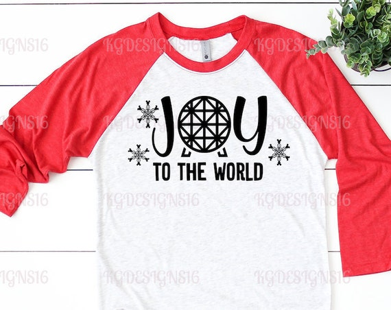 Joy To The World-Epcot World Shirt-Disney Holidays-Holiday Ears-Christmas Womens Shirt-Raglan Tshirt-Unisex Raglan Shirt-Womens Disney Tank