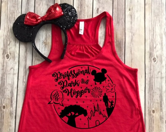 Professional Park Hopper-Living In A Disney World-Park Hopper Shirt-Vacation Shirt-Bella Canvas Flowy Tank Top--Women's Disney Shirt