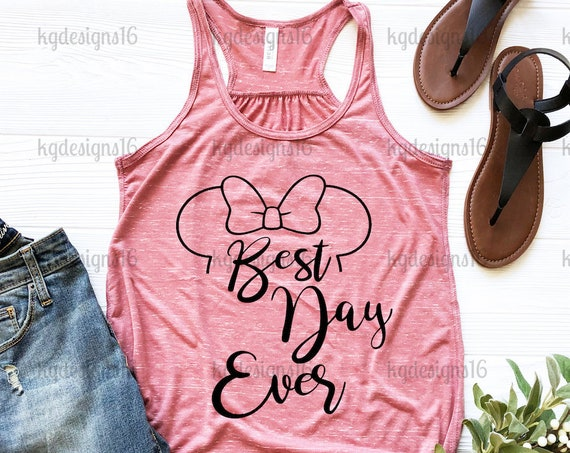 SHIP SAME DAY-Mauve Marble Best Day Ever Shirt-Minnie Mouse Tank Top-Vacation Shirt-Bella Canvas Flowy Tank Top-Women's Disney Shirt
