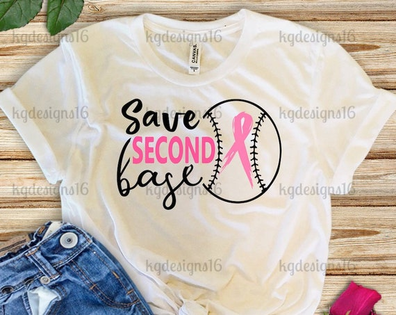 Save Second Base Shirt-Breast Cancer Awareness T Shirt-Save The Ta Tas-Womens T Shirt-Bella + Canvas 3001