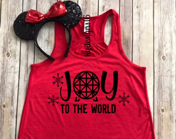 Joy To The World-Epcot Holiday Tank Top-Disney Christmas-Womans Christmas Tank Top-Vacation Shirt-Flowy Tank Top--Women's Disney Shirt