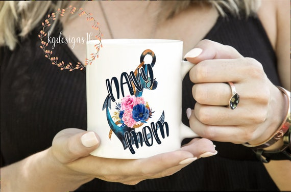 Navy Mom Mug-Floral Water Color Anchor-Mom Mug-Dishwasher Safe Mug-Vinyl Decal-Coffee Cup-Mug