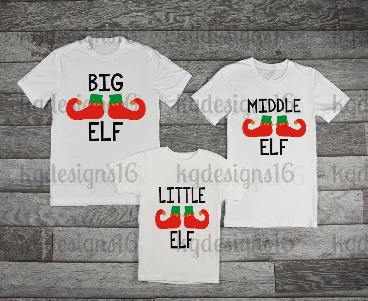Elf Matching Christmas Shirts-Big Elf-Middle Elf-Little Elf-Kids ...