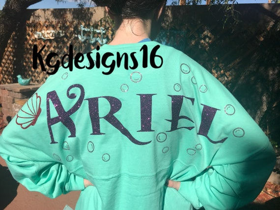 Ariel Spirit Jersey-Disney World Spirit Shirt-Glitter Ariel Shirt-Ariel Pom Pom Jersey-The Little Mermaid Shirt