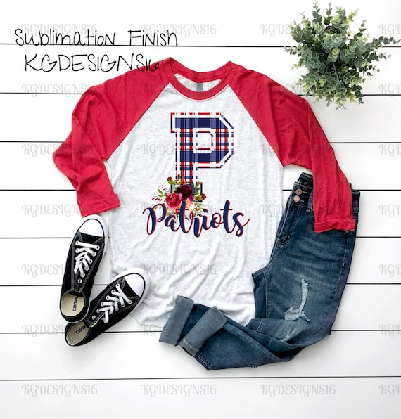 Patriots Floral Chevron Raglan-Patriots Football Shirt-Sublimation Design Shirt-Football Style Tshirt-Women Raglan