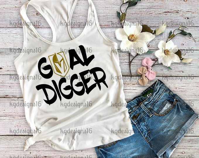 Goal Digger-Vegas Golden Knights For Life Tank Top-Love Knights-Vegas Knights Shirt-Tank Top-Hockey Tank Top-Workout Tank-Bella Canvas Flowy