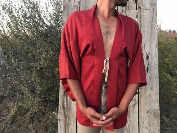Vintage Rust Red Japanese Haori Short Kimono Jacke