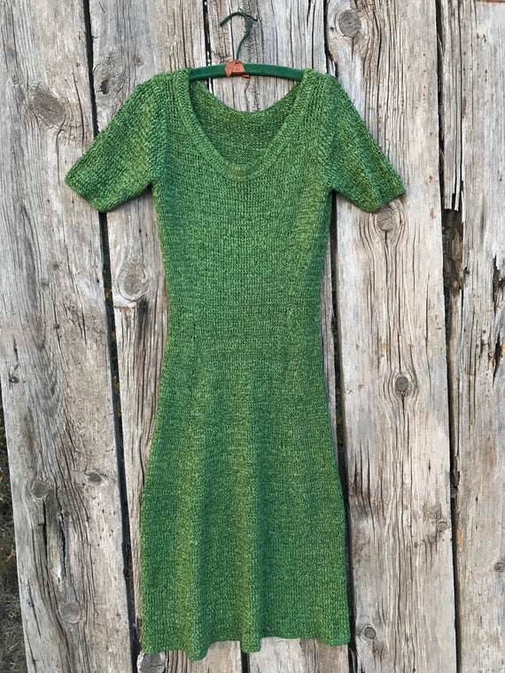 1940s 50s Green Ribbon Knit Dress, M