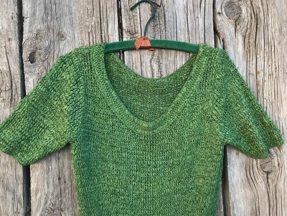 1940s 50s Green Ribbon Knit Dress, M - image 2