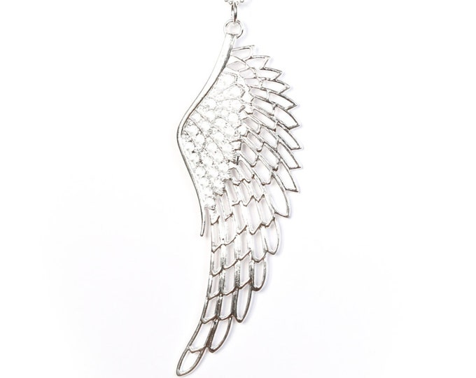 80 cm silver ball chain with a large silver plated angel wing pendant