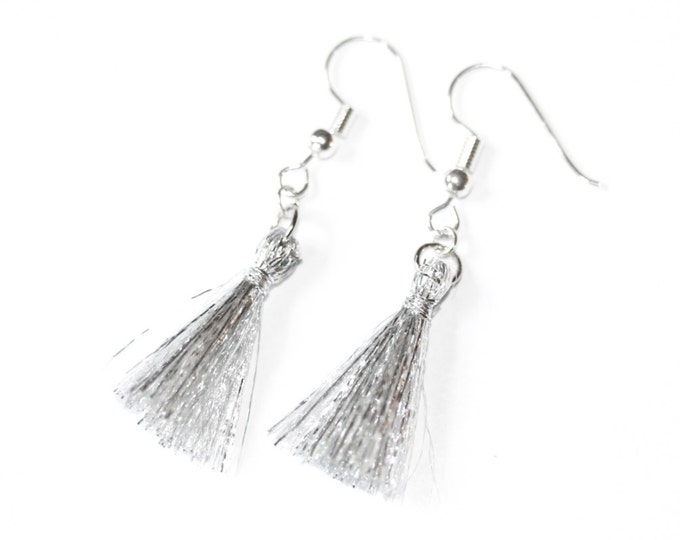Earrings with silver ear wires and silver tassels