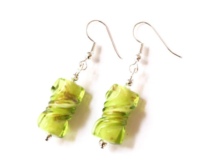 Green earrings with twisted glass beads