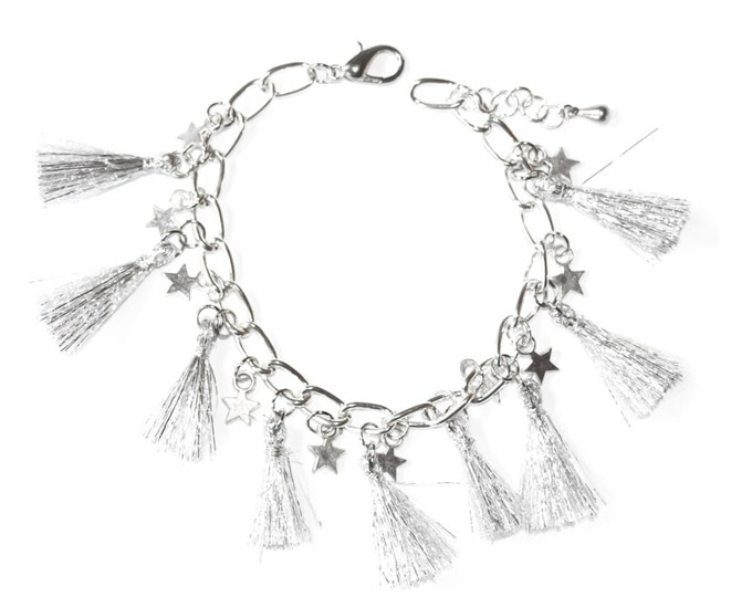 Silver chain bracelet with silver tassels and little stars