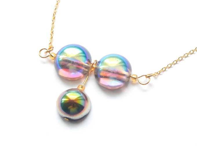 50 cm necklace with a thin gold chain and 3 rainbow Czech glass domes
