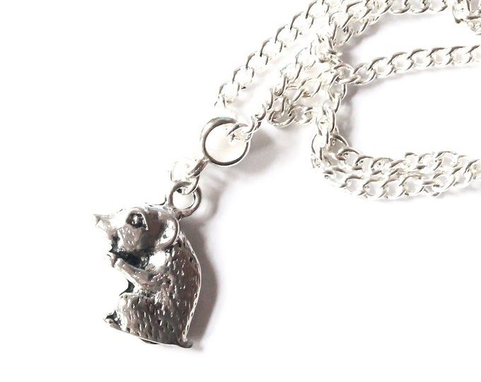 Silver plated necklace with a hamster pendant